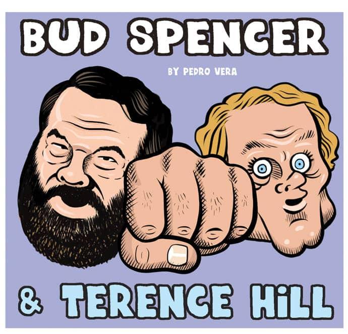 Caricaturas de Bud Spencer y Terence Hill, un dúo admirado por Pedro Vera