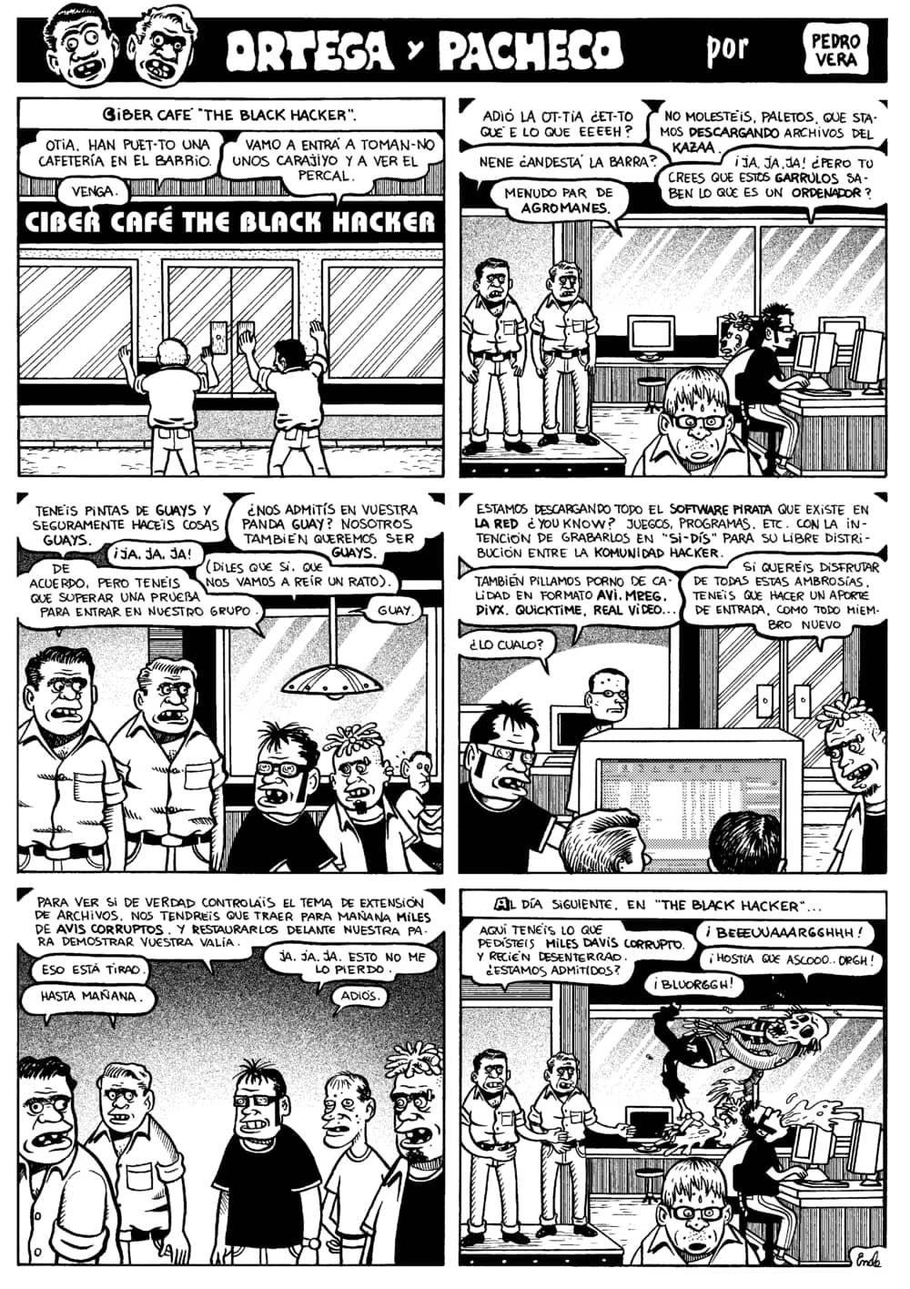 Historieta en que Ortega y Pacheco intentan congeniar con un grupo de 'nerds'