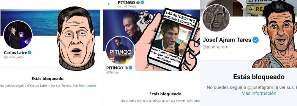 Carlos Latre, Pitingo y Josef Ajram han bloqueado a Pedro Vera en Twitter